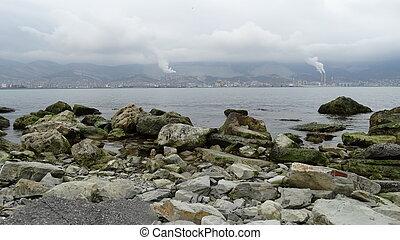 Coast port city of Novorossiysk sea beach