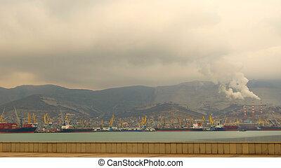 Coast port city of Novorossiysk sea ecology industrial emissions waste