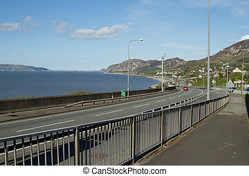Coast road. - The A55 at Penmaenmawr, North Wales, UK, ...