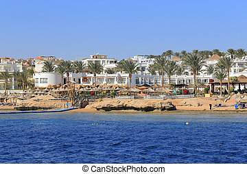 Coast Sharm El Sheikh view from the sea