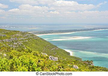Coast view of Atlantic Ocean in Portugal.