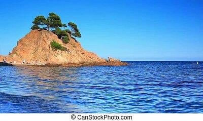 Coast with island.