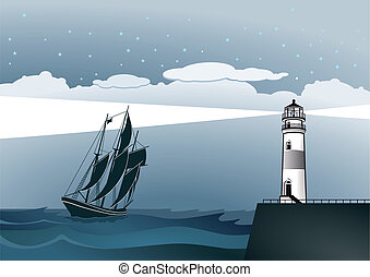 Coast with lighthouse and sailing