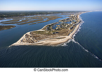 Coastal aerial. - Aerial view of peninsula with beach and...