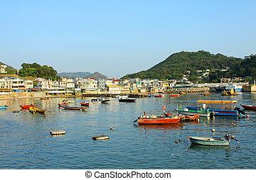 Coastal area with many fishing boats in Lamma Island, Hong ...