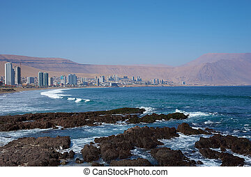 Iquique - Coastal city of Iquique in northern Chile located...