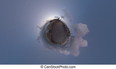 Coastal city timelapse with little planet effect - Spherical...