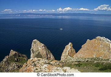 Coastal cliffs of the island Olkhon. Lake Baikal, Russia.