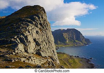 Coastal cliffs - Scenic coastal cliffs on island of Vaeroy,...