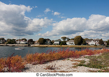 Coastal Connecticut - Homes along the coastline in Westport,...