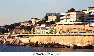 coastal corniche road in marseille, france