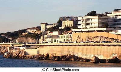 coastal corniche road in marseille, france