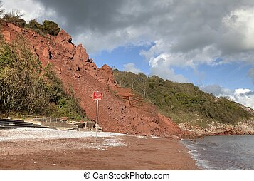 Coastal erosion at Babbacombe Beach, Devon, England.