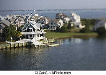 Coastal homes. - Aerial view of coastal community on Bald ...