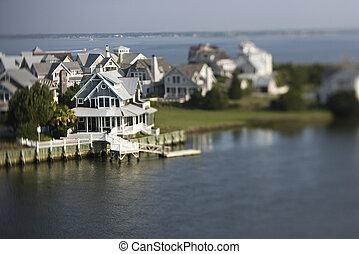 Coastal homes. - Aerial view of coastal community on Bald...
