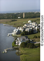 Aerial view of residential area with docks on Bald Head Island, North Carolina.