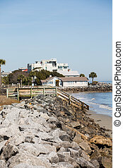Coastal Homes Down Rock Seawall