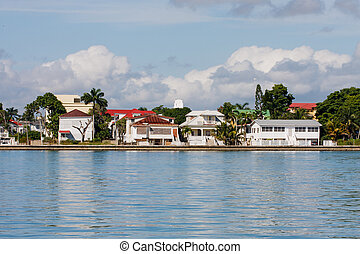 Coastal Homes in Belize - Colorful coastal homes on the...
