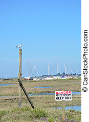 Coastal keep out sign