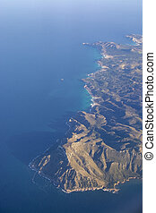 Coastal landscape aerial view Mallorca Spain