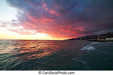 Coastal Landscape after Sunset