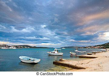 Coastal landscape and marina, Croatia