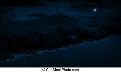 Coastal Landscape At Night - Coastal area in the dark under...