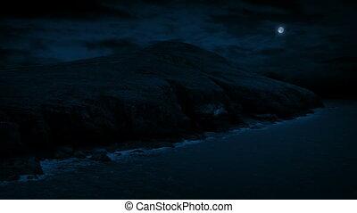 Coastal Landscape At Night - Coastal area in the dark under...