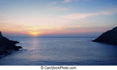 Coastal Landscape At Sunset - Colorful ocean landscape with...