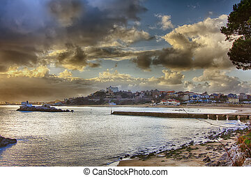 coastal landscape at sunset with beautiful clouds
