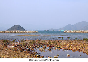 Coastal landscape in Hong Kong at day time