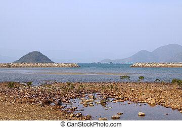 Coastal landscape in Hong Kong at day time
