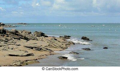 Coastal landscape static shot in Noirmoutier Island, France