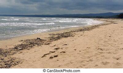 Coastal landscape with majestic crushing waves - Nature -...