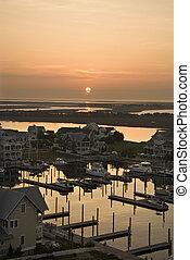 Aerial view of coastal community on Bald Head Island, North Carolina.