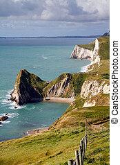 Coastal path view to Durdle Door