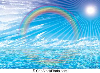 coastal rainbow - illustration of coastal rainbow and sunset