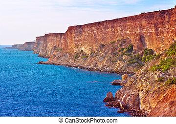 Coastal red rocks and blue Sea Landscape Summer Traveling headland Fiolent Cape near Sevastopol Crimea, Ukraine