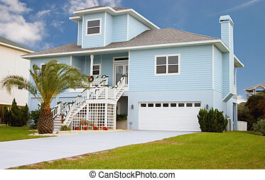 coastal residental 9 - bright blue coastal living home in...