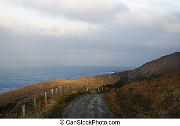 Coastal road Ireland - Wild Atlantic Way coastal route,...