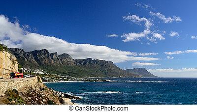 Coastal road near Camps Bay, Western Cape, South Africa -...