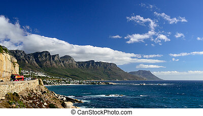 Coastal road near Camps Bay, Western Cape, South Africa -...