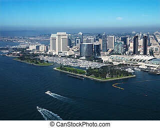 Coastal San Diego. - Aerial view of buildings on coast in...