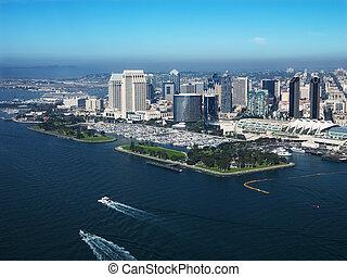 Coastal San Diego. - Aerial view of buildings on coast in...