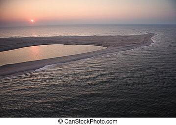 Coastal sandbar.