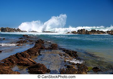 Coastal Scene - Coastal rock pools and gulley in South...