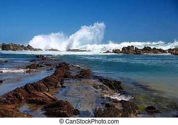Coastal Scene - Coastal rock pools and gulley in South...