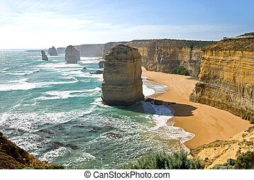 Limestone stacks on the shoreline in Southern Victoria, is one of Australia's premier tourist attractions