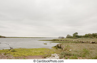 Coastal scene with overcast sky clear space and bay land rock and grass
