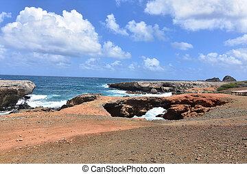 Coastal seascape of the Three Bridges in Aruba